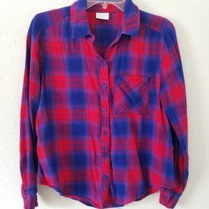Abound Blue & Red Button Down Flannel Shirt